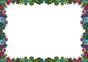 Doodle Borders Hand Drawn Nature Clip Art Page
