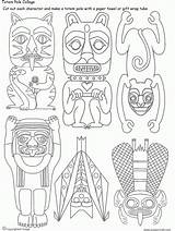 Totem Coloring Pole Poles Drawing Eagle Native Animal Tribal Northwest Indian Symbols Drawings Pacific Draw Pieces Artsmudge Sheets Crafts North sketch template