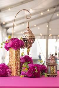 Fuchsia peony gold lantern Moroccan centerpiece 50th