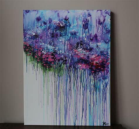 violet purple abstract flower paintingacrylic painting