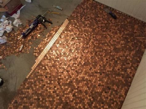 tile your floor with pennies using pennies to tile your floor