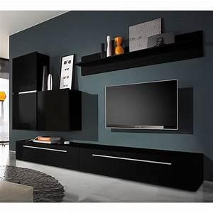 Wohnwand 2 Teilig : wohnwand polytop i 6 teilig hochglanz schwarz tv lowboard mit 2 schubladen led ~ Indierocktalk.com Haus und Dekorationen