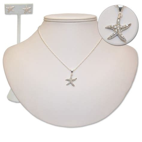 sterling silver  cz starfish set   perfect