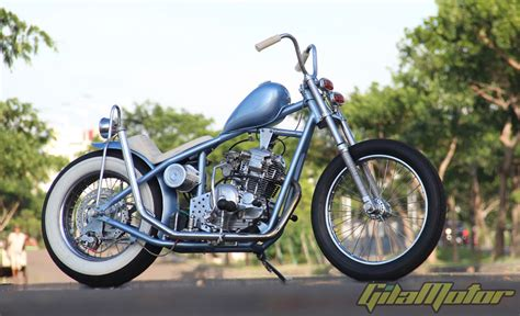 modifikasi yamaha scorpio   school chopper