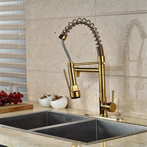 kitchen sink finishes cornet gold finish kitchen sink faucet with dual spouts 2707