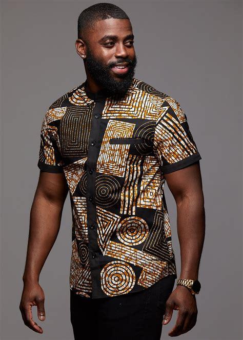 olu short sleeve mandarin button  african print shirt