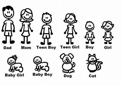 Stick Figure Figures Cat Dog Drawing Decals