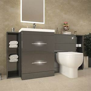 Patello 1600 fitted bathroom furniture grey buy online at for Pictures of fitted bathrooms