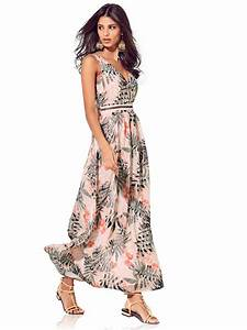 robe longue decolletee en voile fluide imprime floral With helline robe longue