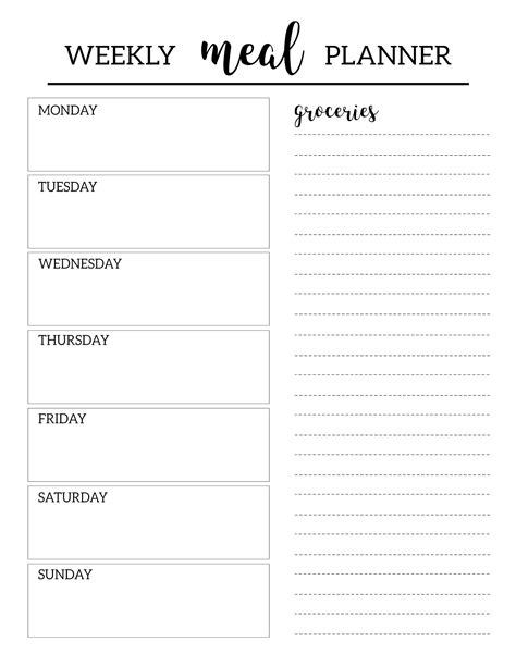 Meal Planner Template Free Printable Meal Planner Template Paper Trail Design