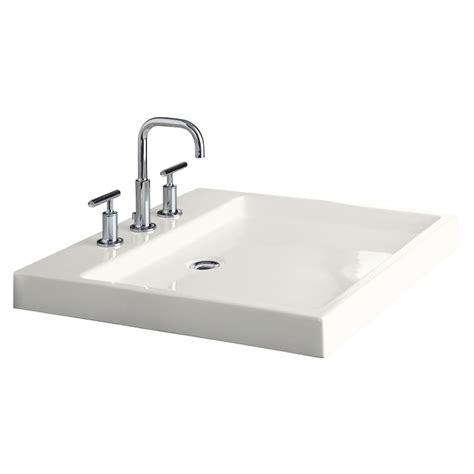 drop in bathroom sinks rectangular shop kohler purist white fire clay drop in rectangular