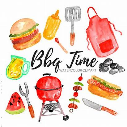 Bbq Clipart Clip Grill Watercolor Grilling Employee