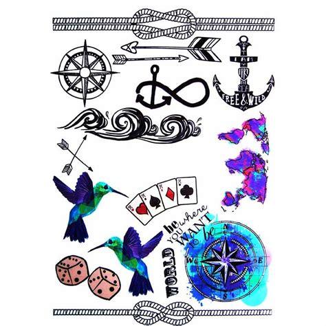 tatouage temporaire boussole  ancre marine  school