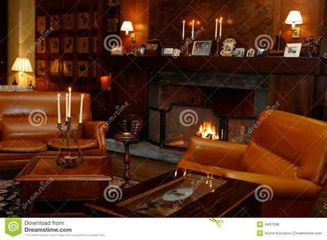 Large Comfortable Sofa by Den Fireplace Leather Chairs Stock Photo Image 4407296