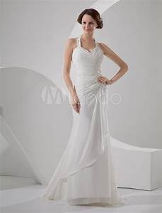simple halter satin chiffon wedding dress milanoocom With simple chiffon wedding dress