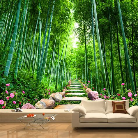 custom photo wall mural wallpaper bamboo forest stone road