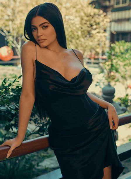 kylie jenner wearing  kendall kylie label black dress