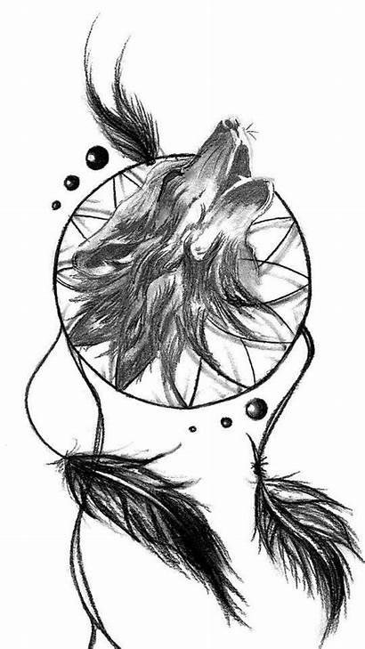 Catcher Wolf Dream Tattoo Dreamcatcher Tattoos Designs