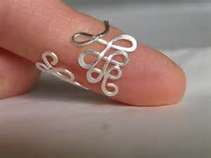 """Toe ring... """"Ferns"""" wire wrapped silver wire toe ring."""