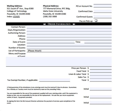catering invoice samples sample templates