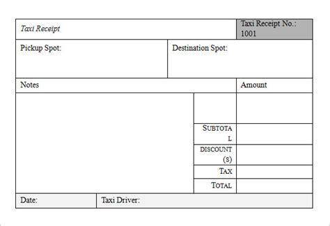 taxi receipt templates  samples examples format