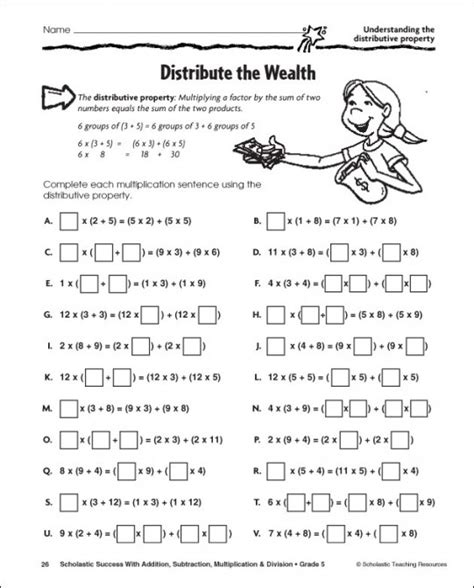 Distributive Property Of Multiplication Worksheets 7th Grade  Distributive Property Using An