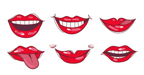 sexy red lips hand drawn vector illustration