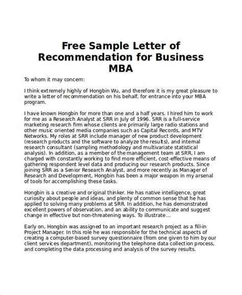 Letter Exles For Interest by Sle Mba Recommendation Letter 6 Exles In Word Pdf
