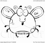 Fly Cartoon Coloring Clipart Chubby Happy Surprised Thoman Cory Outlined Vector sketch template
