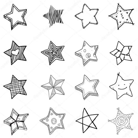 16 Simple Hand Drawn Stars Shapes — Stock Vector © Lunter