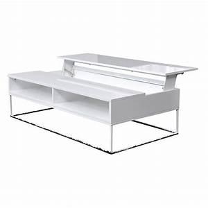 Table Basse Relevable Blanche : table basse avec plateau relevable blanche noemie achat vente table basse table basse avec ~ Teatrodelosmanantiales.com Idées de Décoration
