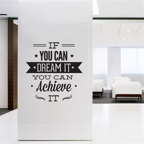 wall decal quotes wall art typographic sticker dream it achieve it decal for office decor
