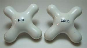 Antique Porcelain Hot And Cold Faucet Knobs Old Architectural Plumbing Hardware