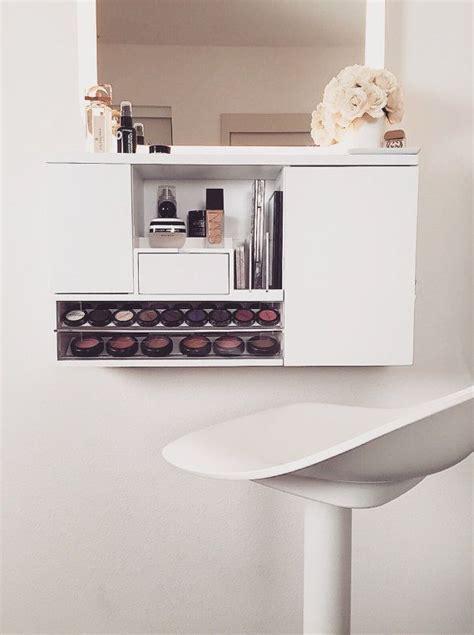 light grey distressed wall mounted makeup organizer