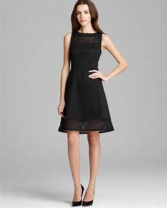 Bloomingdales Size Chart Dkny Sleeveless Dress With Mesh Yoke In Black Lyst
