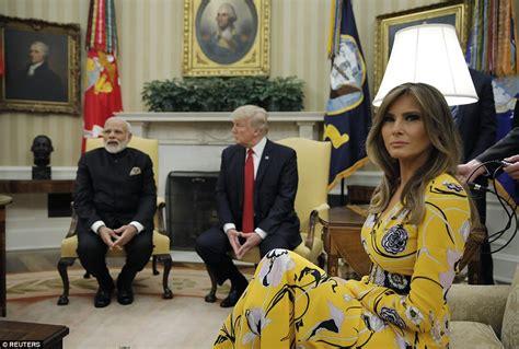 melania trump greets indian pm modi   white house