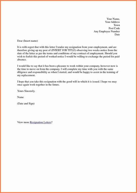 short resignation letter weeks notice notice letter