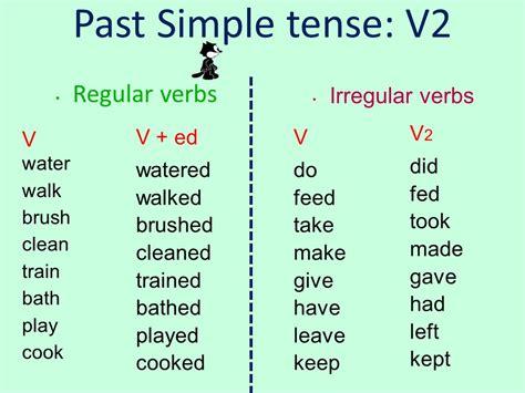 Past Simple Tense V2 Regular Verbs Irregular Verbs V V2 Did Fed Took  Ppt Video Online Download