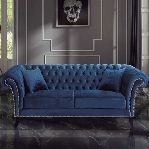 sofa stylish blue velvet esfa  iluti