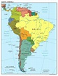 Large scale political map of South America with major ...