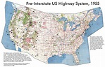 Detailed map of the USA highway system of 1955. The USA ...