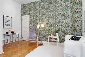 Papier Peint Fleuri : int rieur scandinave avec du papier peint fleuri picslovin ~ Premium-room.com Idées de Décoration