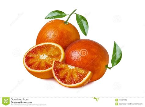 Isolated Orange Fruit Red Blood With Leaves