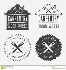 Set Of Vintage Carpentry Labels, Emblems And Logo Stock