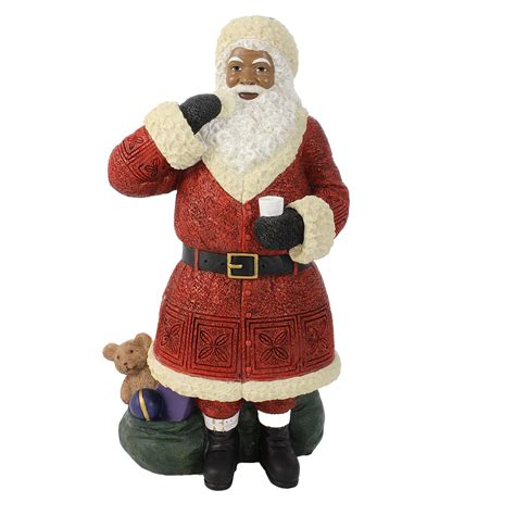 african american santa claus with cookie figurine height