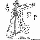 Coloring Crocodile Bass Playing Stand Animal Animals Activities Template sketch template