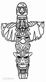 Totem Pole Coloring Pages Wolf Drawing Poles Templates Easy Cool2bkids Printable Native Eagle Owl Template Faces Sketch American Adults Totum sketch template