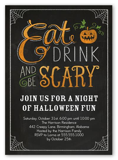 Halloween Potluck Invitation Ideas by 18 Halloween Invitation Wording Ideas Shutterfly