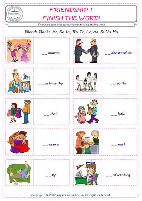 friendship esl printable english vocabulary worksheets