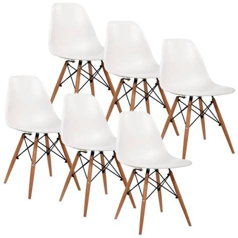 lot de 6 chaises blanches lot de 6 chaises design blanche achat vente chaise blanc cdiscount